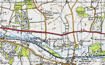 Old map of Avington in 1945