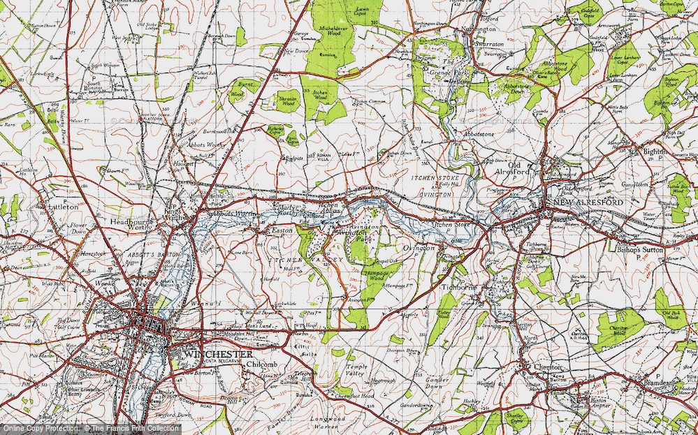 Old Map of Historic Map covering Avington Park in 1945