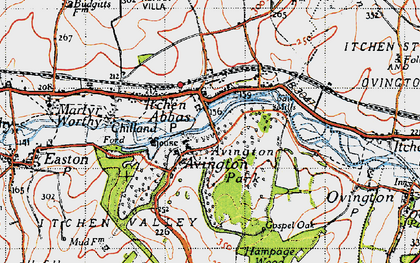 Old map of Avington Park in 1945