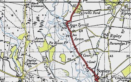 Old map of Avon Common in 1940
