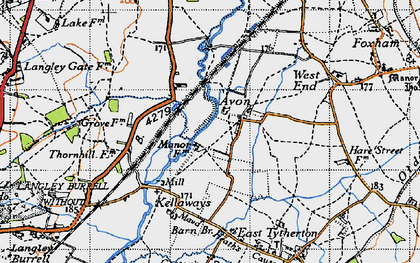 Old map of Avon in 1947