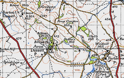 Old map of Avon Dassett in 1946