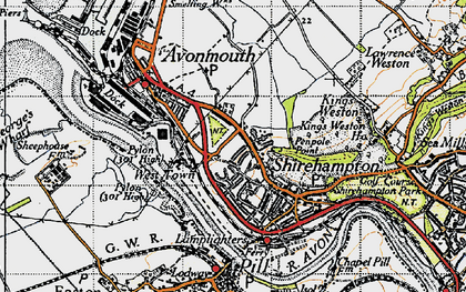 Old map of Avonmouth in 1946