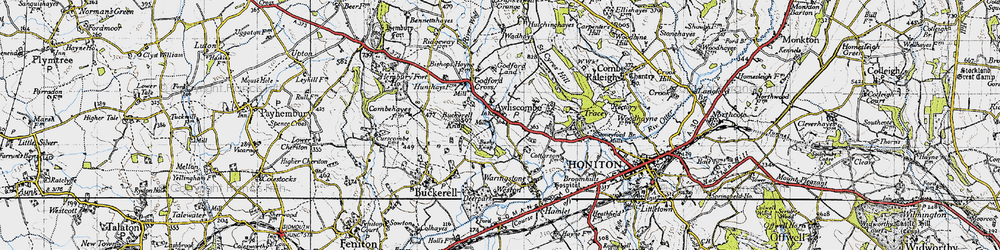 Old map of Awliscombe in 1946