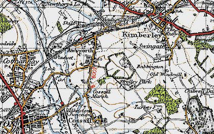 Old map of Awsworth in 1946