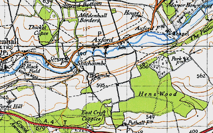 Old map of Axford in 1940