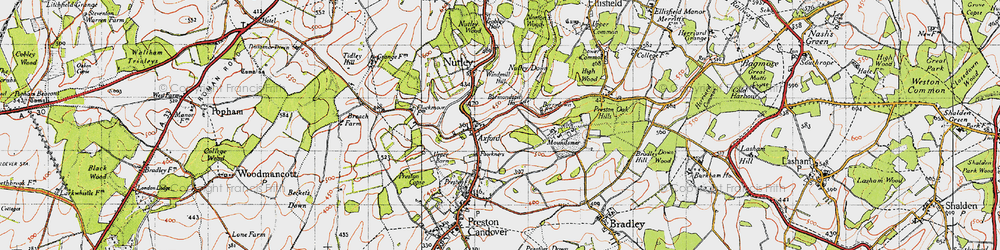 Old map of Axford in 1945