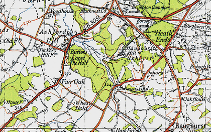 Old map of Axmansford in 1945