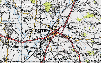 Old map of Axminster in 1945