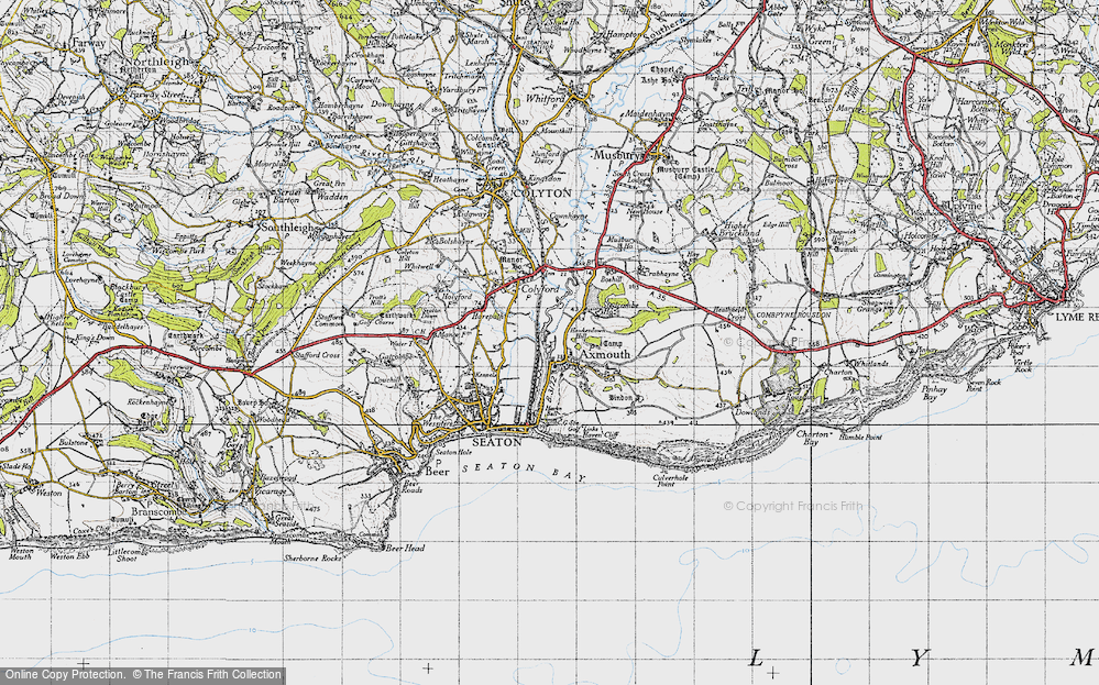 Old Map of Axmouth, 1946 in 1946
