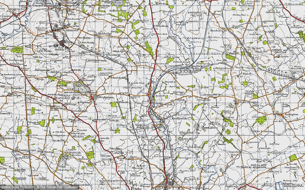 Old Map of Aycliffe Village, 1947 in 1947