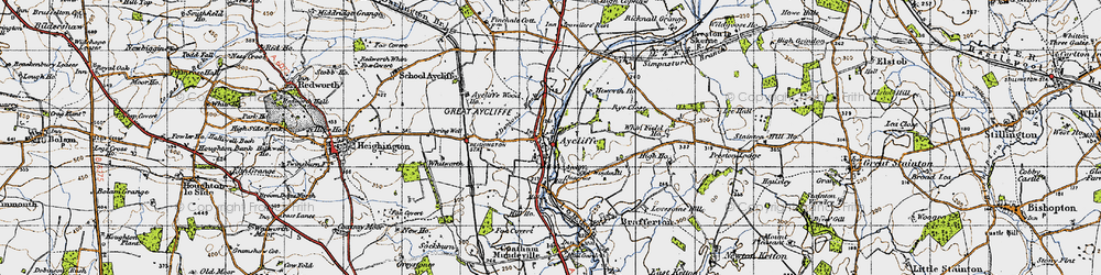 Old map of Aycliffe Village in 1947