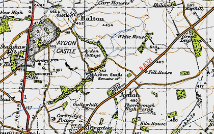 Old map of Aydon Castle in 1947