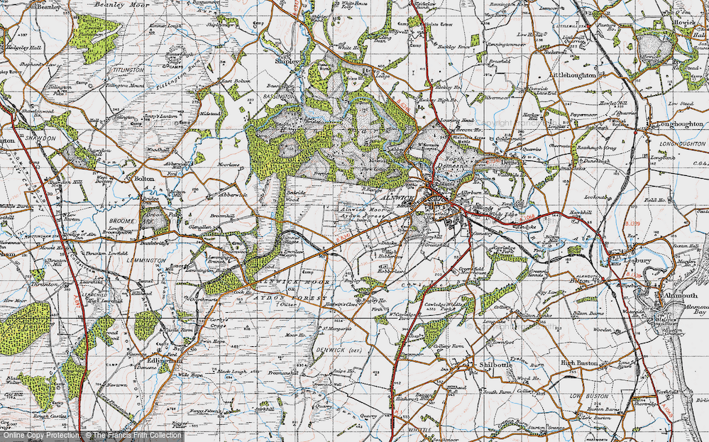 Old Map of Aydon Forest, 1947 in 1947
