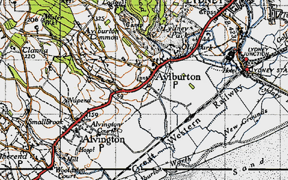 Old map of Aylburton in 1946