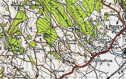 Old map of Aylburton Common in 1946