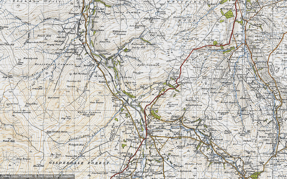 Old Map of Historic Map covering Ayle Burn in 1947