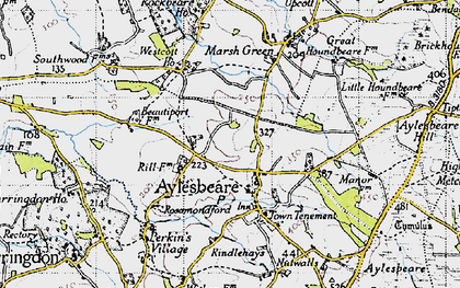 Old map of Aylesbeare in 1946