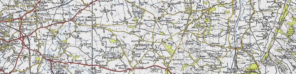 Old map of Aylesbeare in 1946