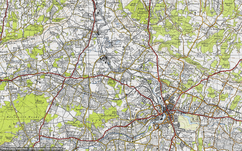 Old Map of Aylesford, 1946 in 1946