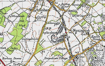 Old map of Aylesham in 1947