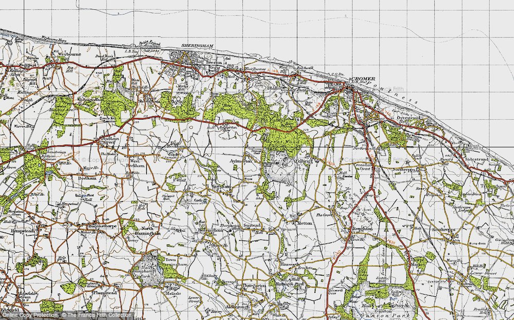 Old Map of Historic Map covering Lion's Mouth in 1945