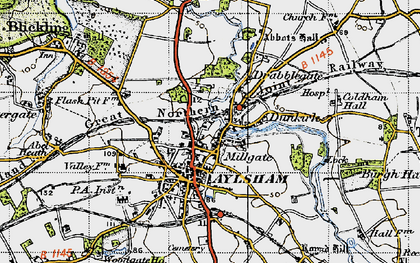 Old map of Aylsham in 1945