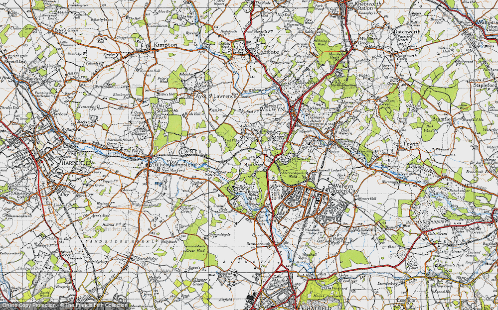 Old Map of Historic Map covering Ayot Montfitchet in 1946