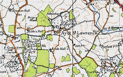 Old map of Ayot St Lawrence in 1946