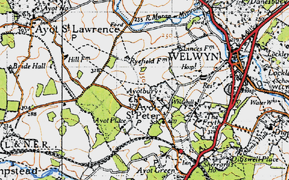 Old map of Ayot Bury in 1946