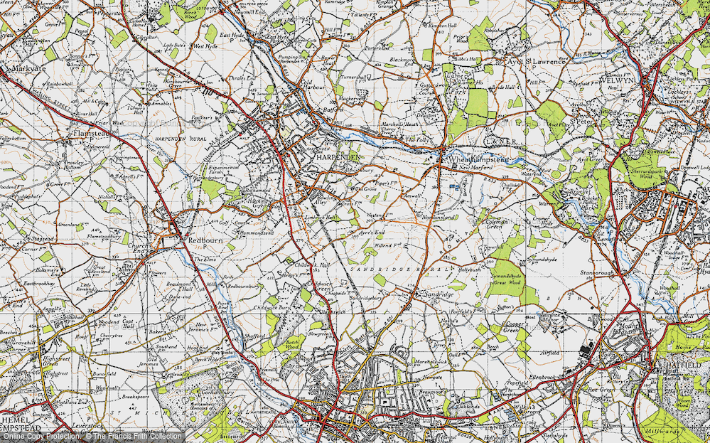 Old Map of Ayres End, 1946 in 1946