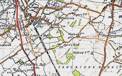 Old map of Ayres End in 1946