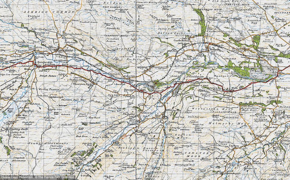 Old Map of Historic Map covering Aysgarth Falls in 1947