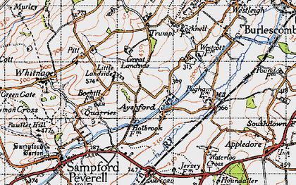 Old map of Ayshford in 1946