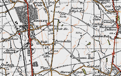 Old map of Ayton in 1947