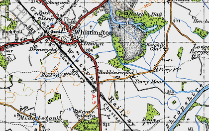 Old map of Babbinswood in 1947
