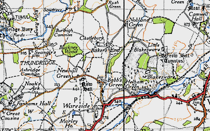 Old map of Babbs Green in 1946