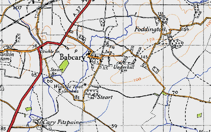 Old map of Babcary in 1945