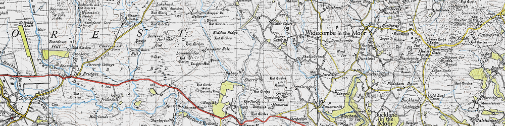Old map of Yar Tor in 1946