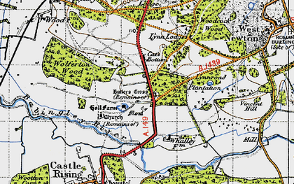 Old map of Babingley River in 1946