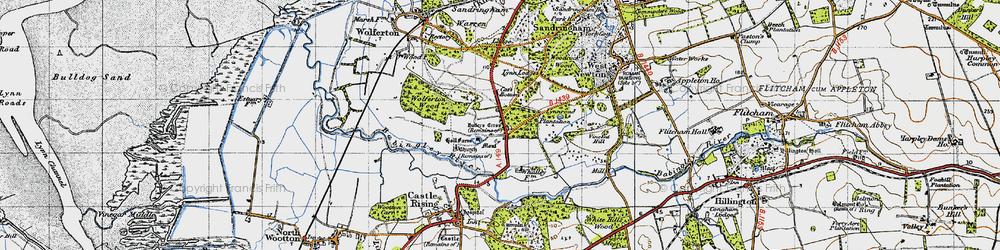 Old map of Wolferton Wood in 1946