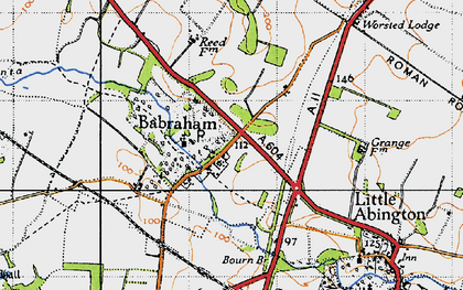 Old map of Babraham in 1946