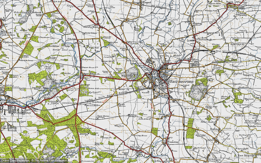 Old Map of Babworth, 1947 in 1947