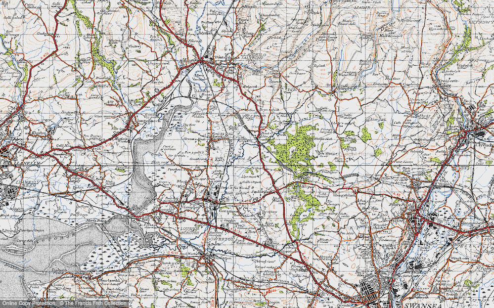 Old Map of Historic Map covering Tircoed in 1947