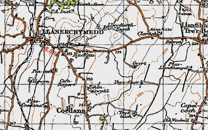 Old map of Bachau in 1947