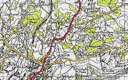 Old map of Bachelor's Bump in 1940