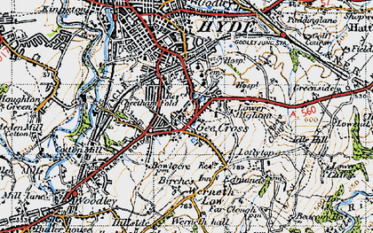 Old map of Backbower in 1947