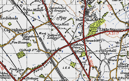 Old map of Backford Cross in 1947