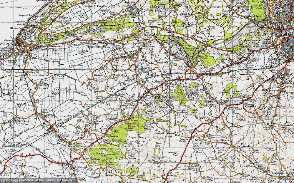 Old Map of Historic Map covering Backwell Hill in 1946