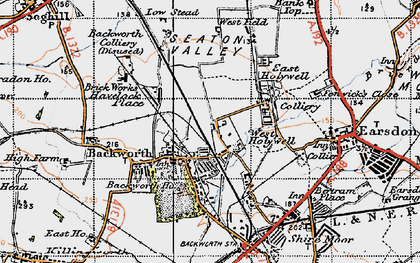 Old map of Backworth in 1947